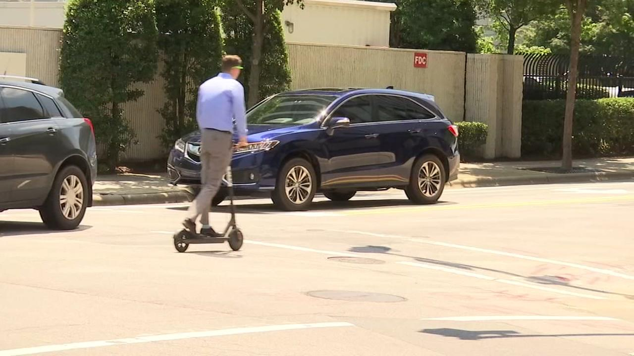 Scooters in downtown Raleigh
