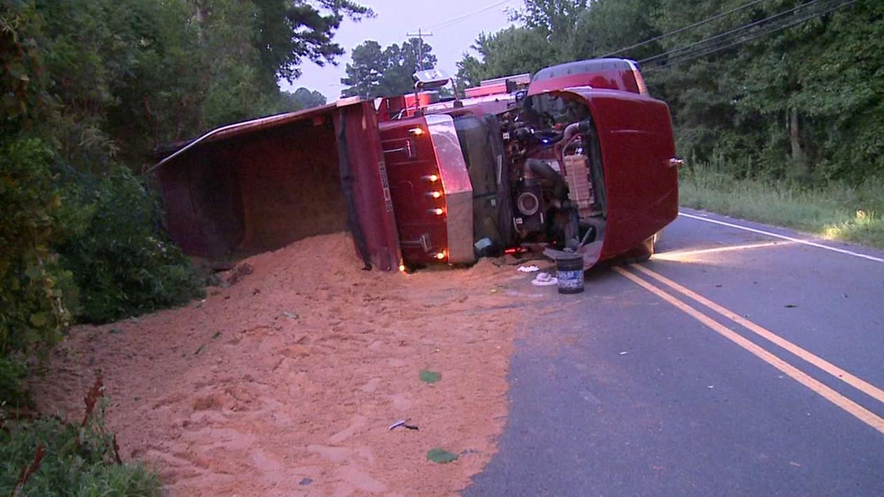 Man injured after dump truck overturns in Durham