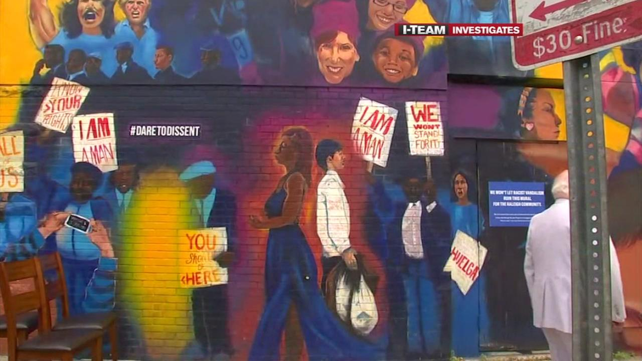 I-Team: Pedestrians still gawking at vandalized ACLU mural laced with anti-Semitic graffiti