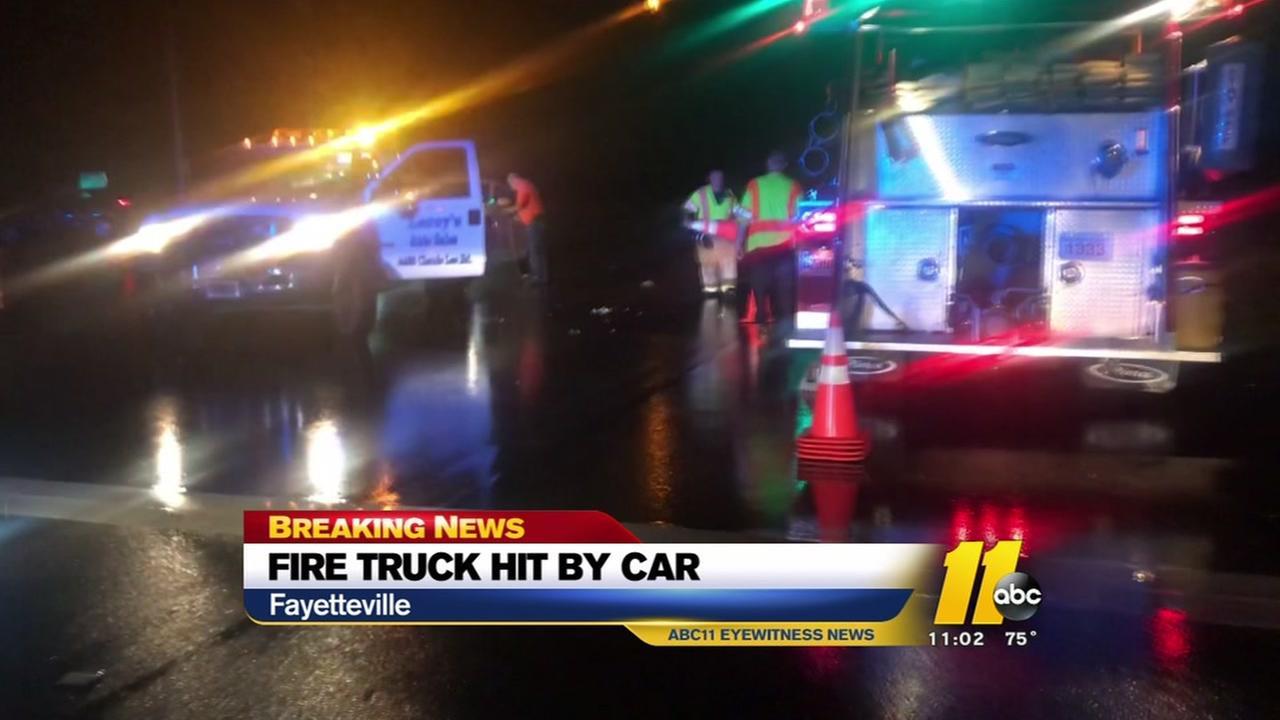 Firetruck hit by car in Fayetteville