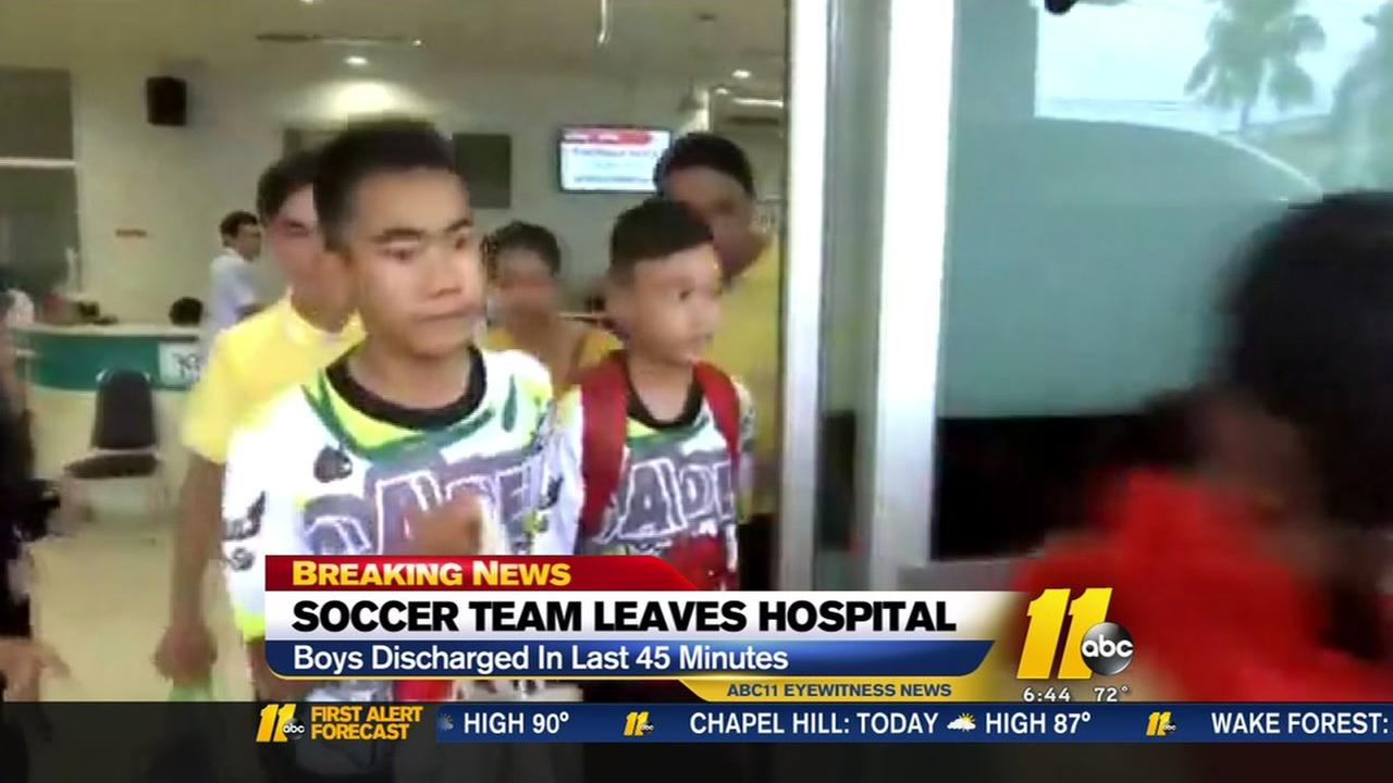 Soccer team rescued from cave released from hospital