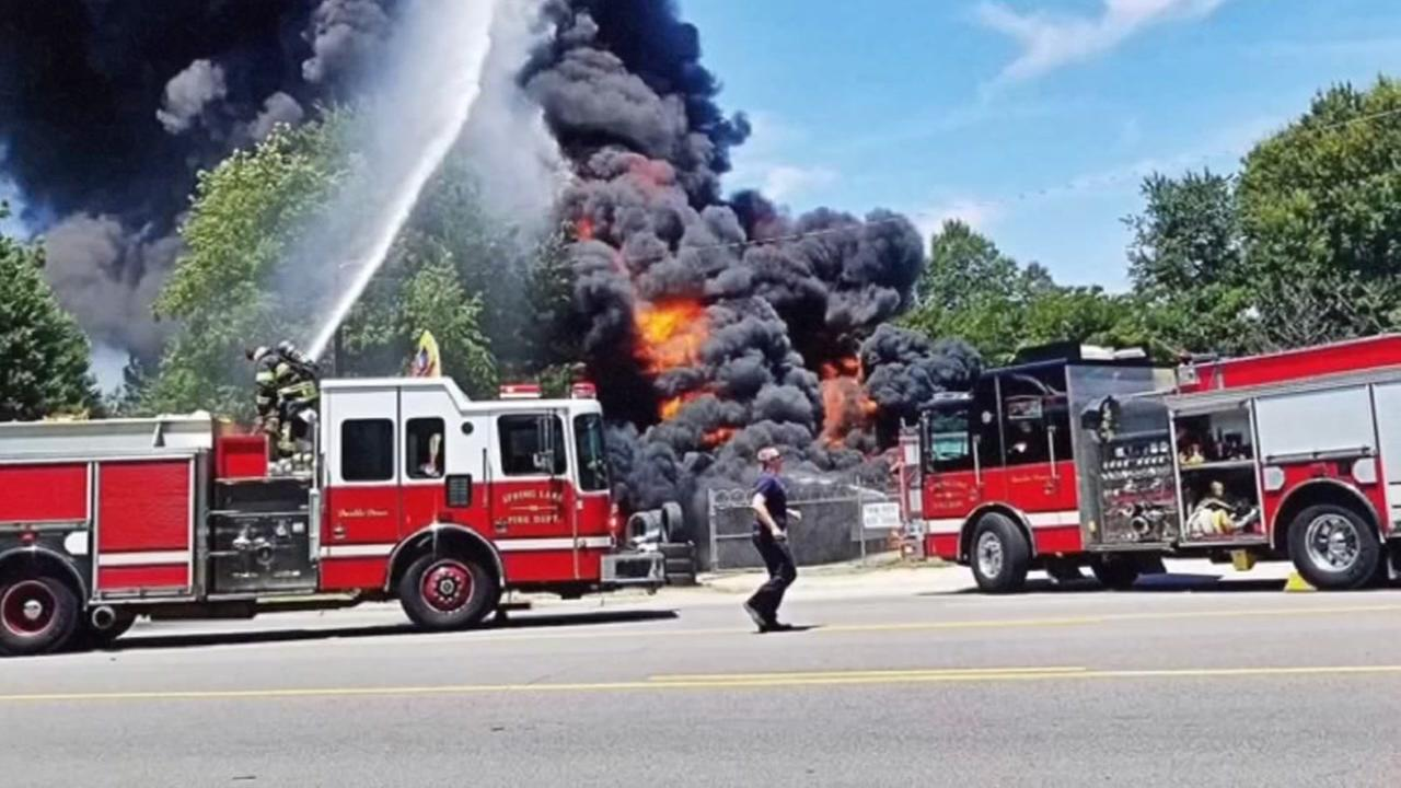 Large tire fire burns in Spring Lake