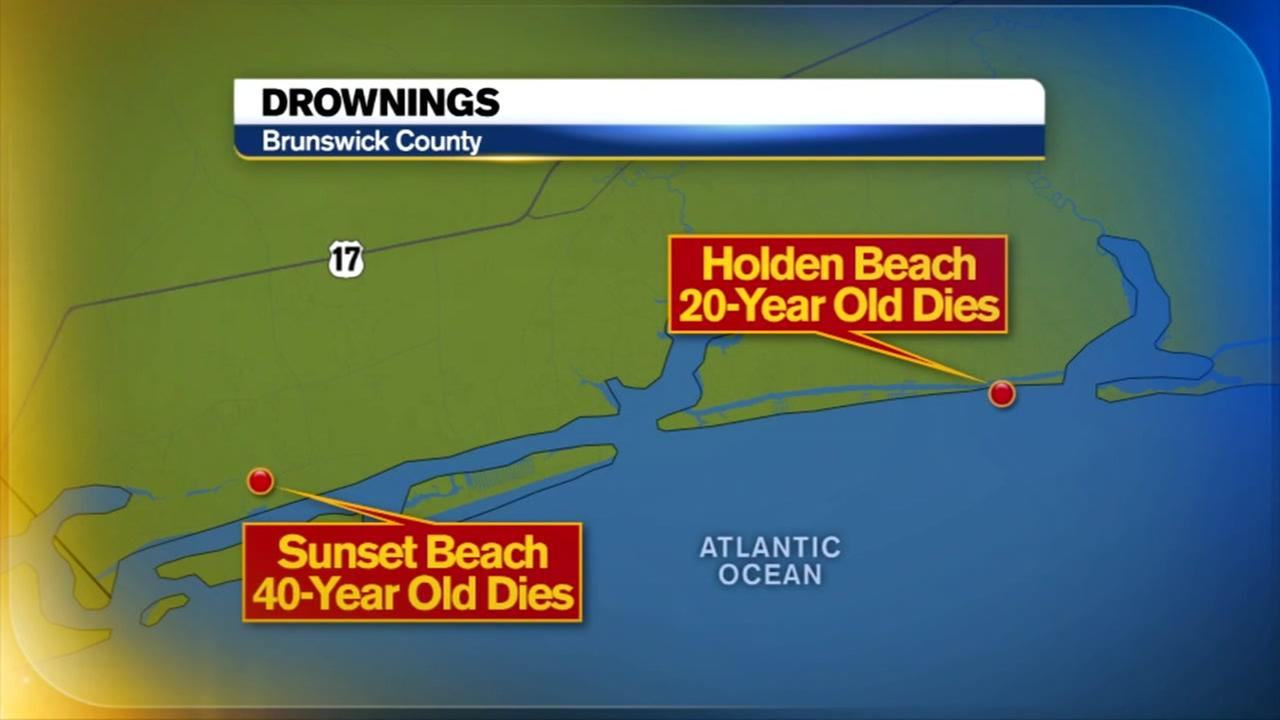 Two people drowned at two different Brunswick County beaches Saturday afternoon.