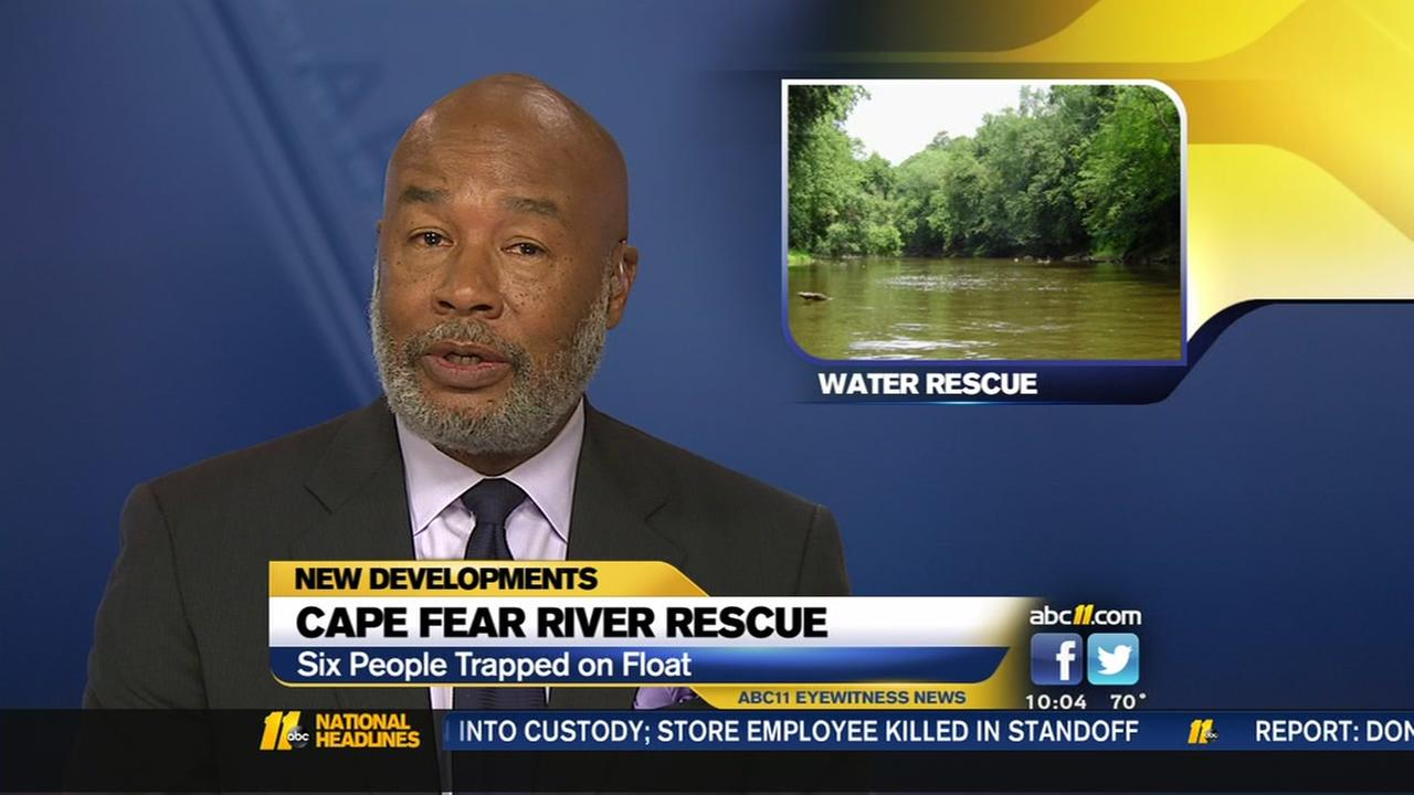 Six people rescued after being trapped on float in the Cape Fear River