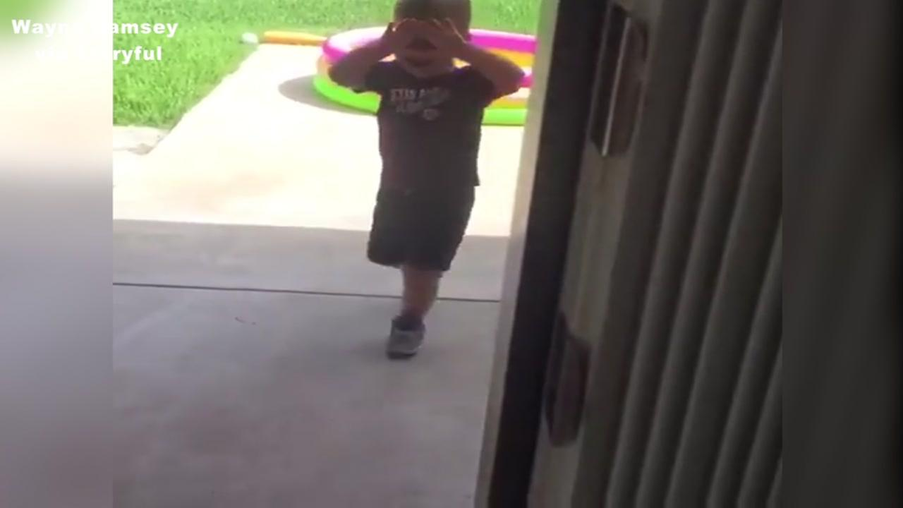 Little boy can't stand Texas heat wave