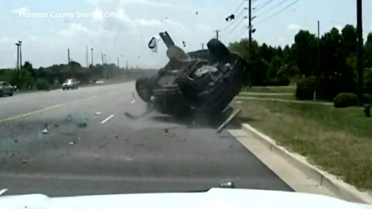 VIDEO: Wild police chase in South Carolina ends with SUV rolling over and ejecting driver