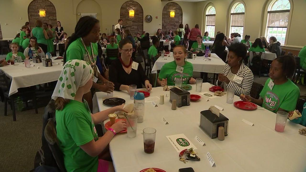 Girl Scouts attend Leadership Camp town hall