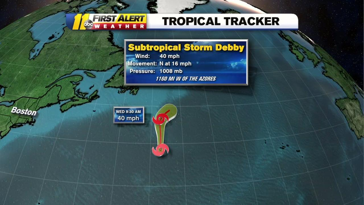 Subtropical Storm Debby forms in the Atlantic
