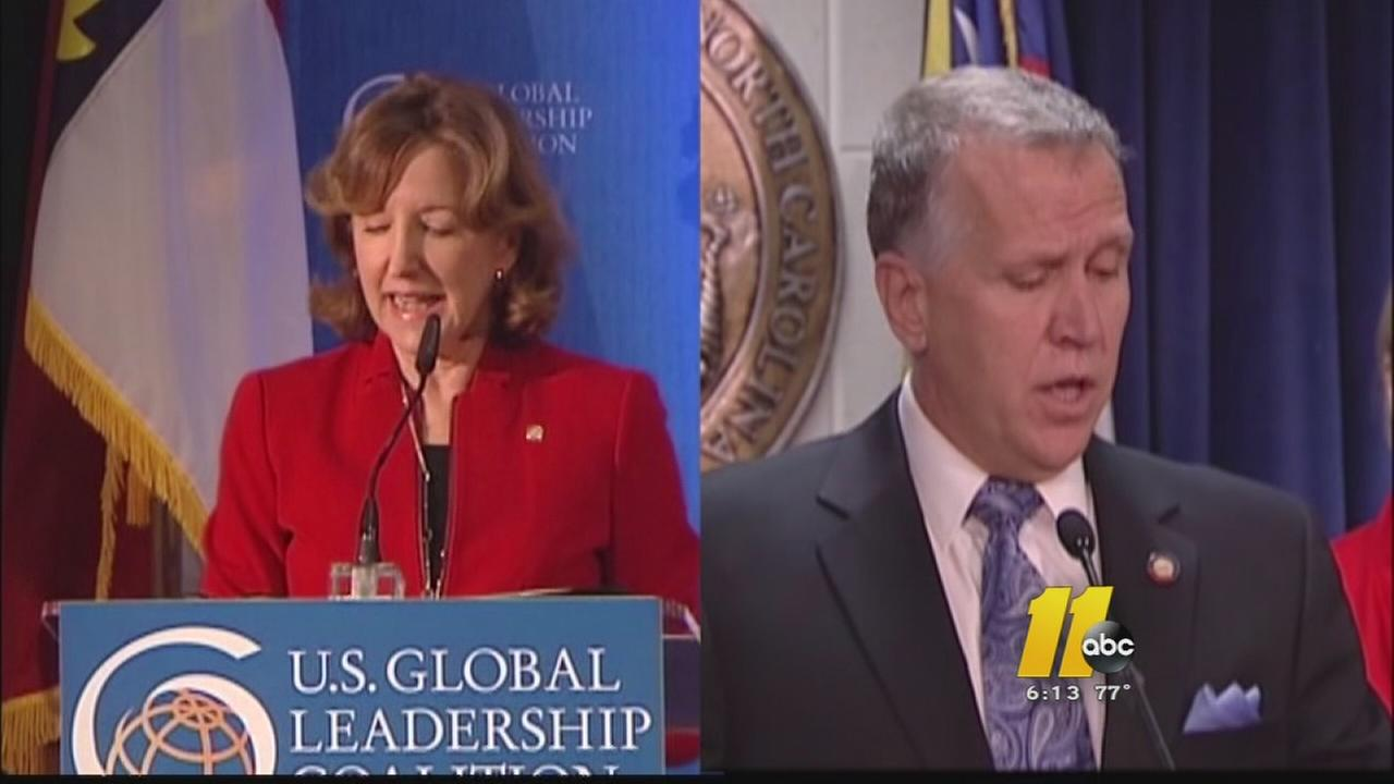 Democratic Sen. Kay Hagan and her opponent Republican Thom Tillis