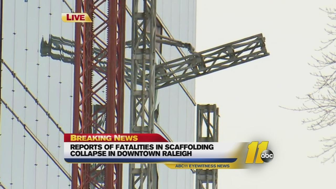 Scaffolding collapses at Raleigh construction site