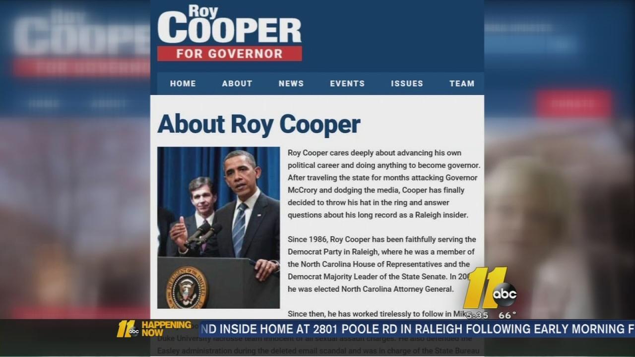 Fake Roy Cooper for governor website
