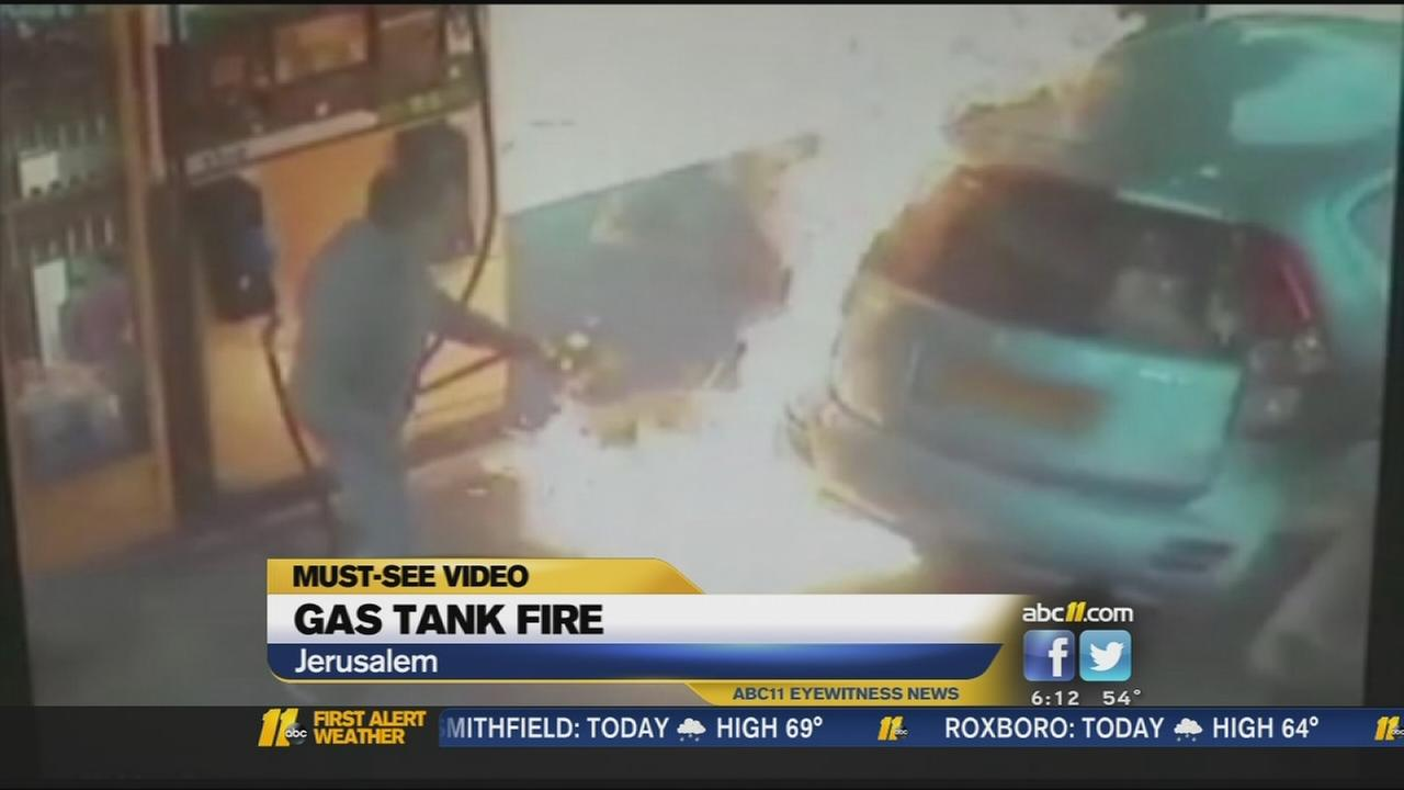 Woman sets gas pump on fire