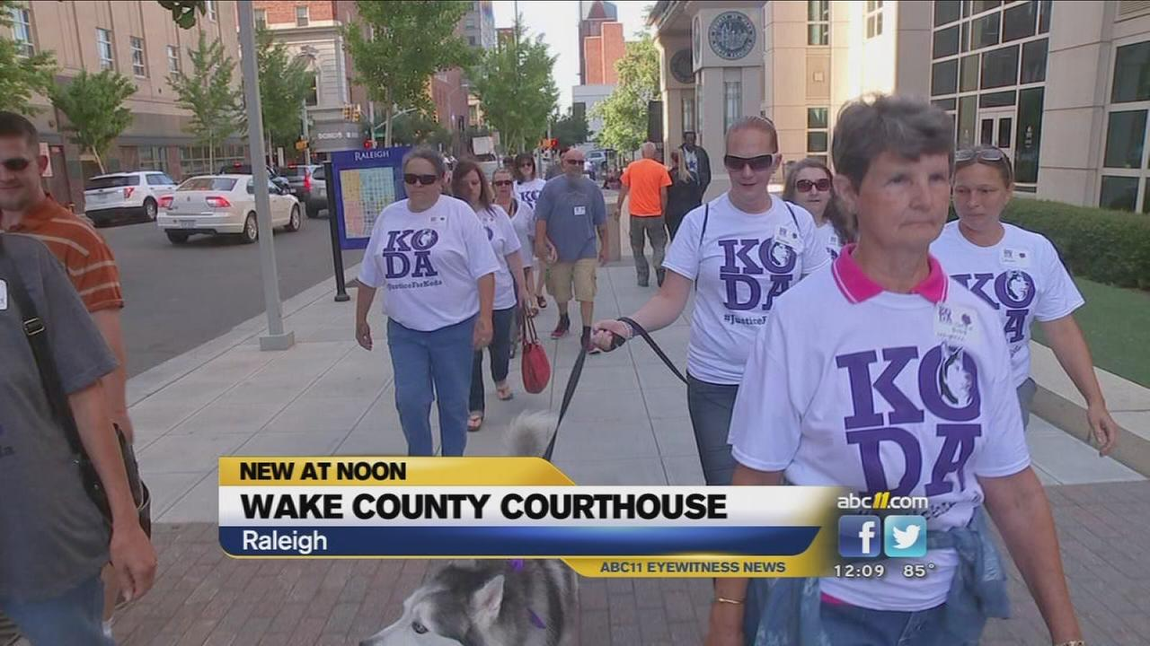Protestors picket alleged dog stabbers court hearing