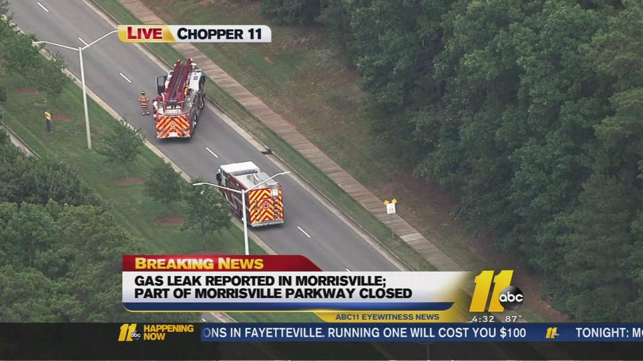 Gas leak closes part of Morrisville Parkway.