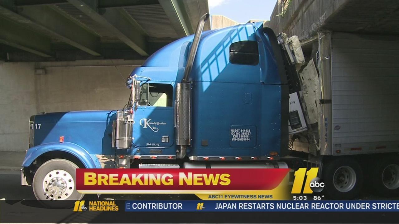 Truck gets stuck under Durham Bridge