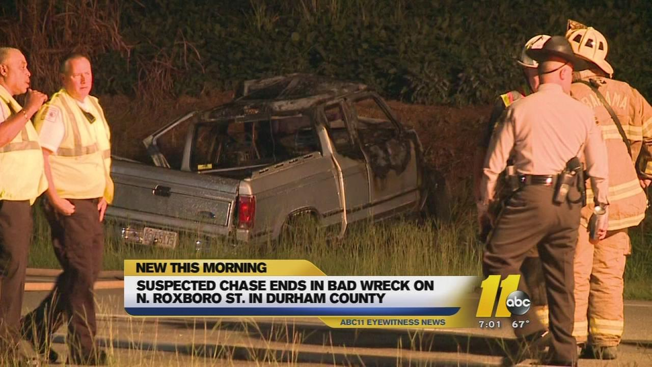Suspected chase ends in wreck