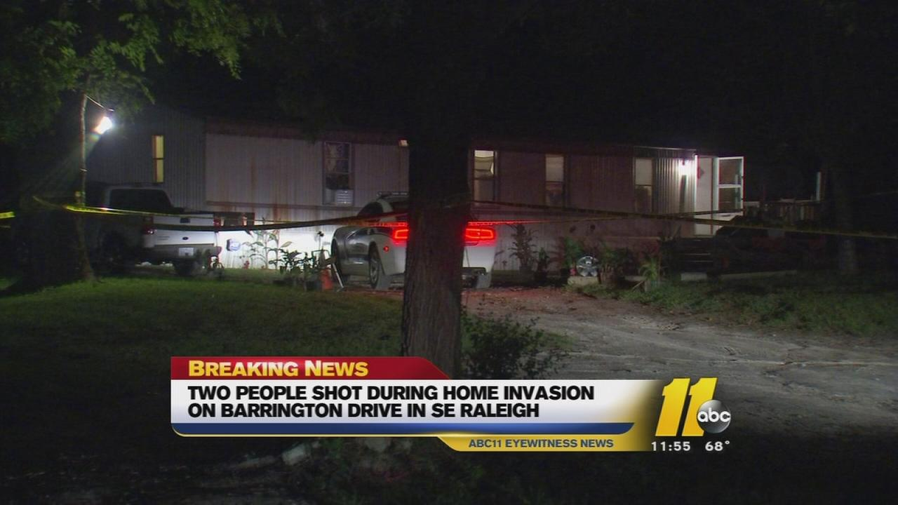 Wake County sheriffs deputies said two people were shot during a reported home invasion in Raleigh.