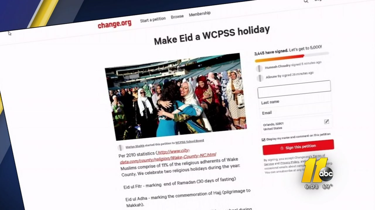 Wake County students could soon get the day off for a Muslim holiday, which would be considered a teacher workday.