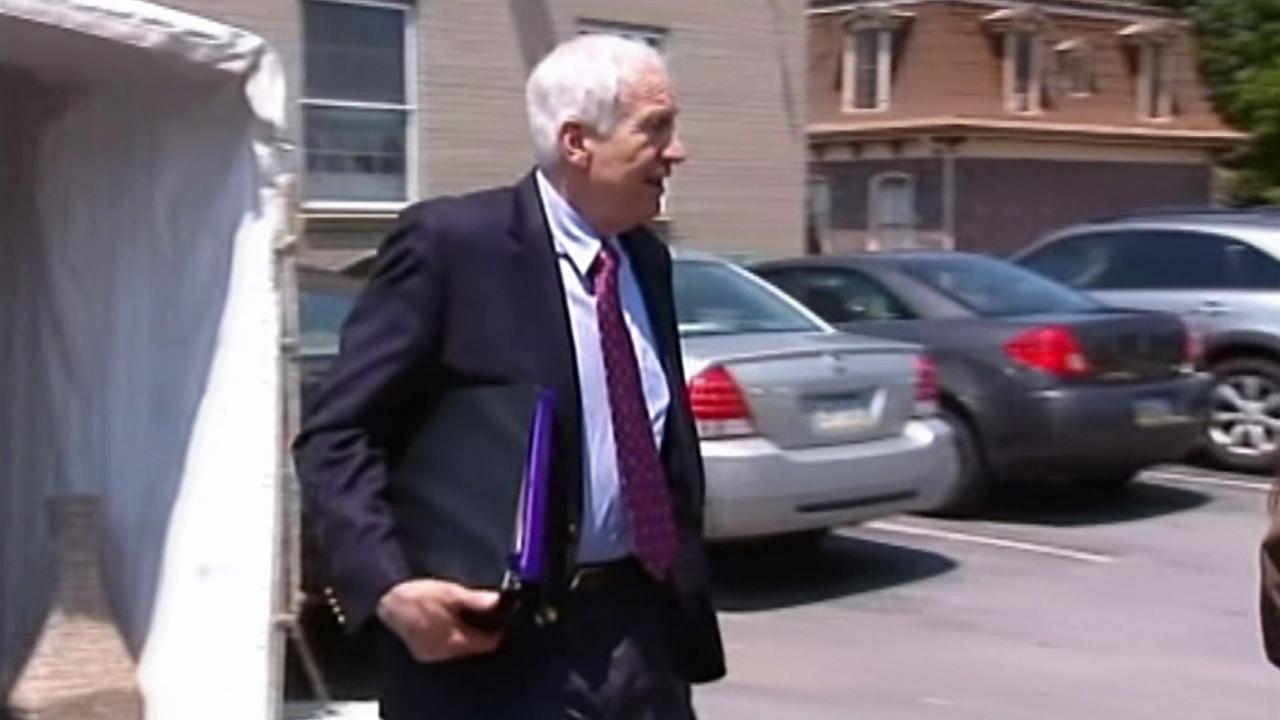 Jerry Sandusky is seen leaving the court where his child sex-abuse trial took place in Bellefonte, Pa. in June 2012.