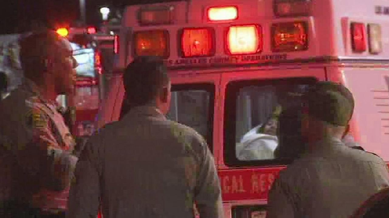 Joselyn Zuniga, 15, is taken away in an ambulance in Palmdale, after a possible abduction on Thursday, Sept. 26, 2013.