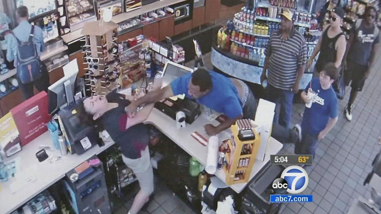 This still image from surveillance footage shows a customer punching a clerk at a Chevron gas station in Lakewood in September 2013.