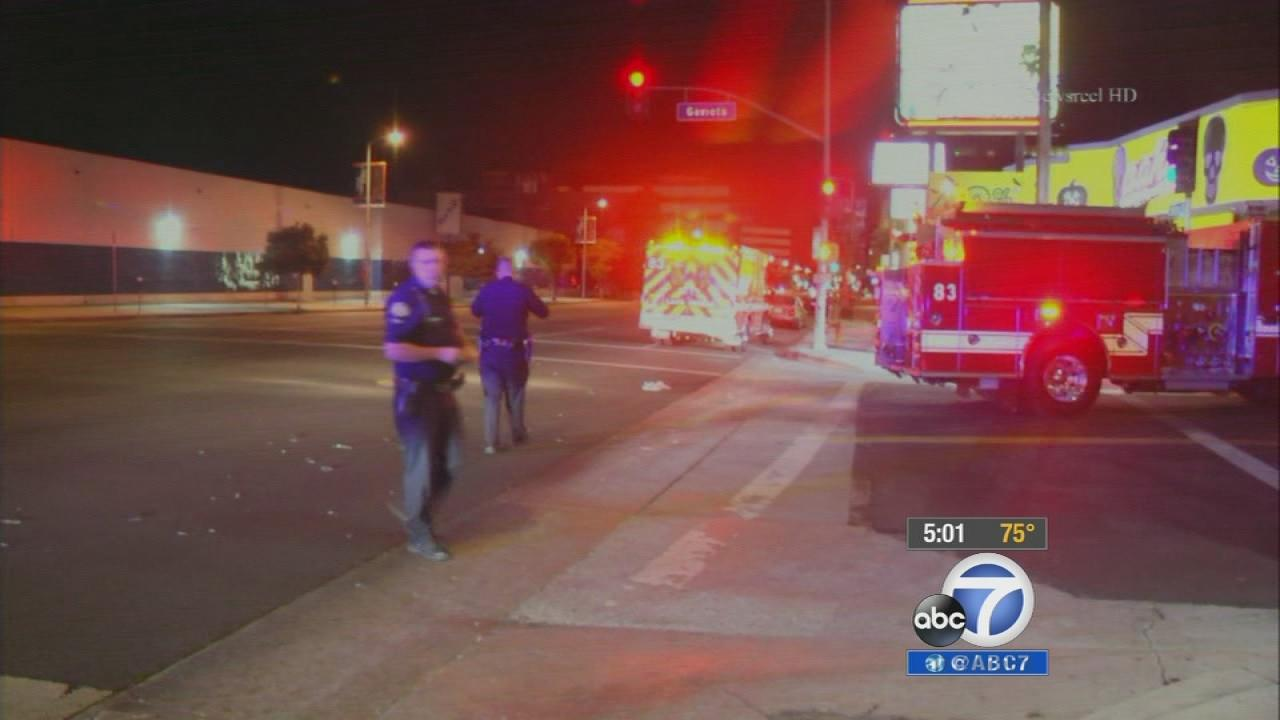 A fatal hit-and-run crash occurred at the intersection of Ventura Boulevard and Gaviota Avenue around 12:15 a.m.  Monday, Oct. 7, 2013.