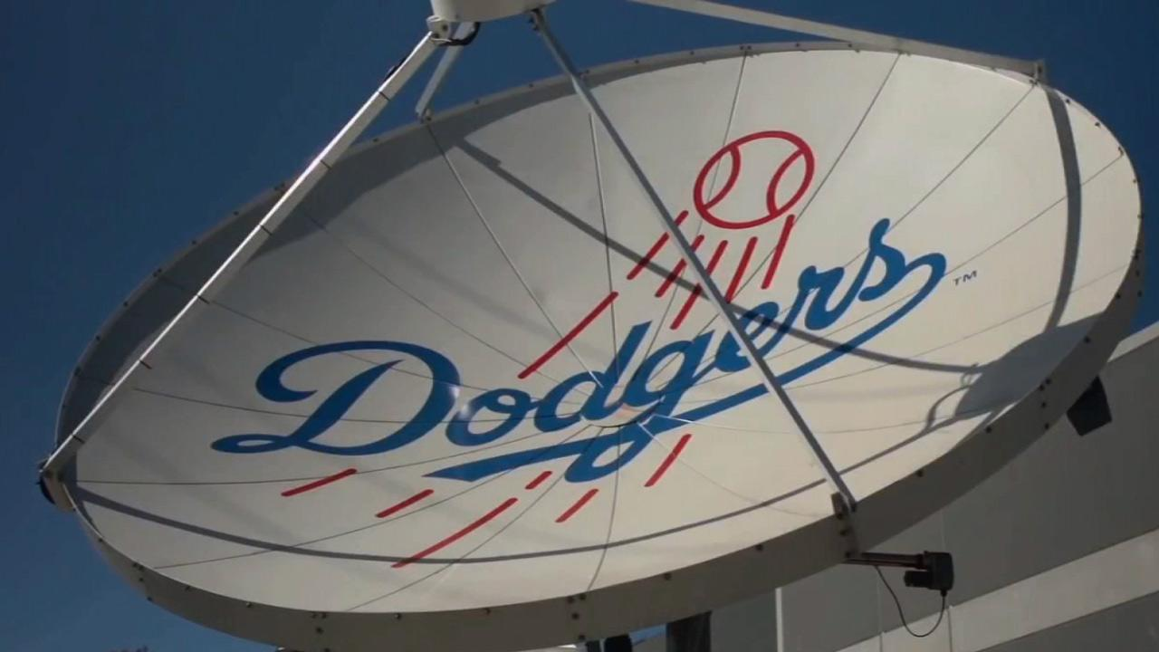 The Dodgers logo is seen on a satellite in this undated file photo.