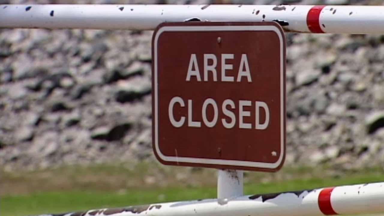 A closed sign at a state park is shown in this undated file photo.