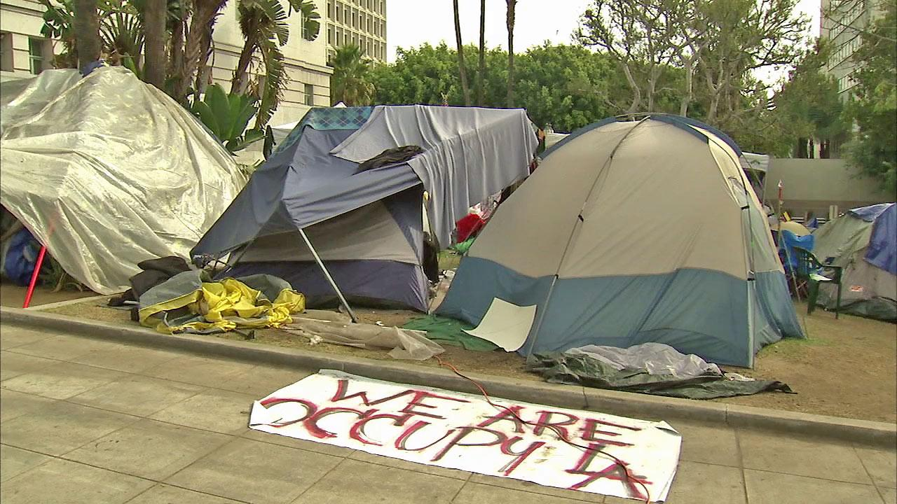 The Occupy LA encampment is seen outside Los Angeles City Hall in this undated file photo. The movement set up camp outside city hall Oct. 1, 2011.