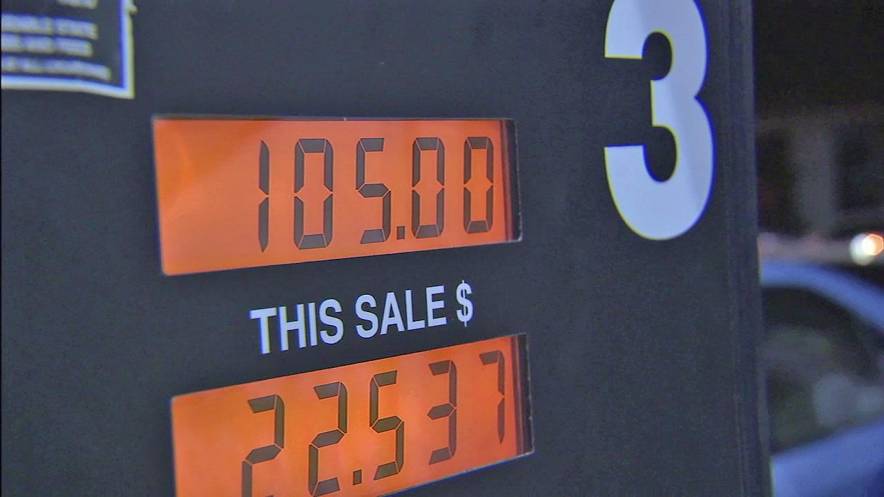 A gas pump shows the total price for gas at a Los Angeles gas station on Friday, Oct. 5, 2012.