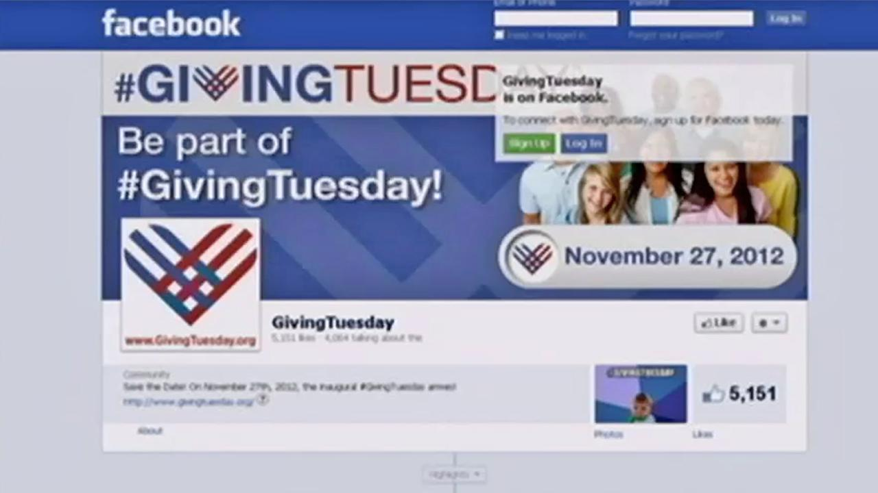 The Facebook page for Giving Tuesday is seen.