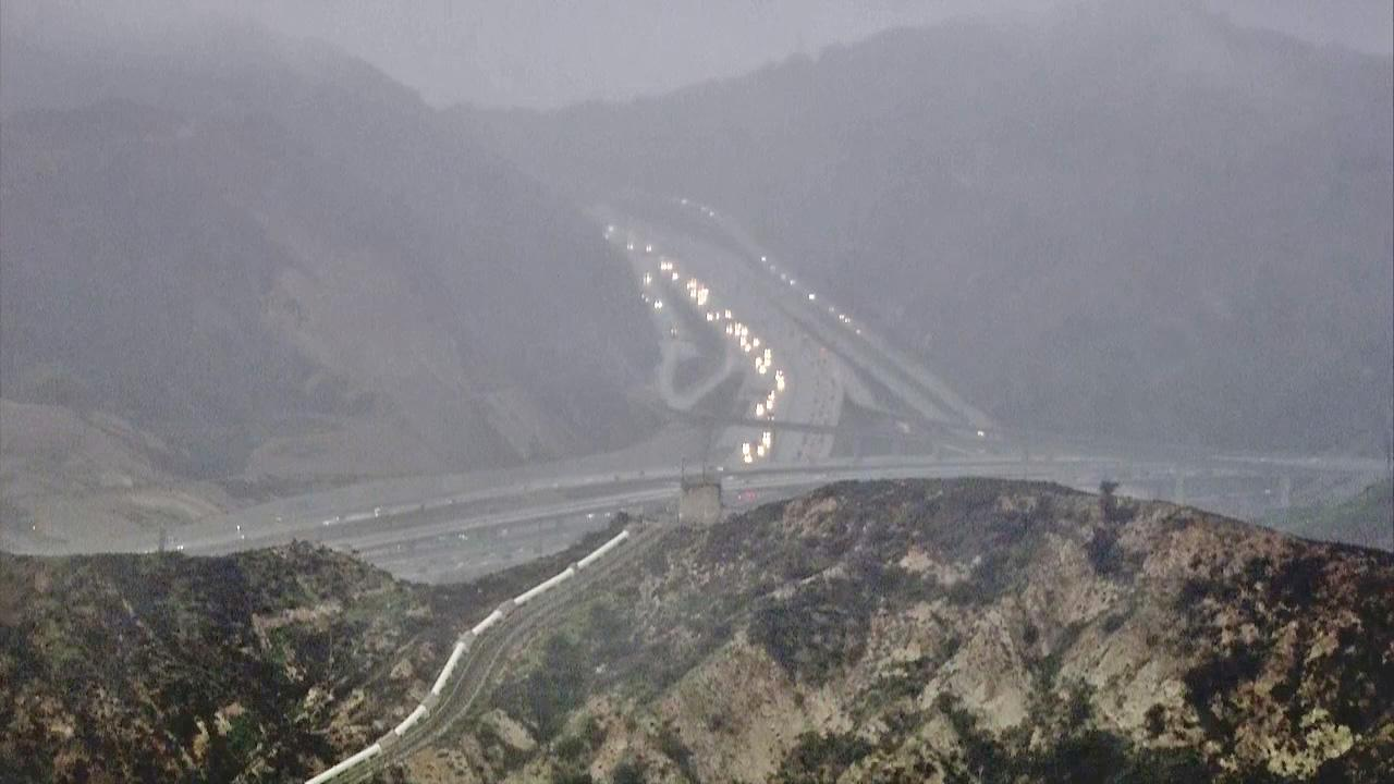 The I-5 to SR-14 merger in the Newhall Pass is seen Friday, Feb. 8, 2013.