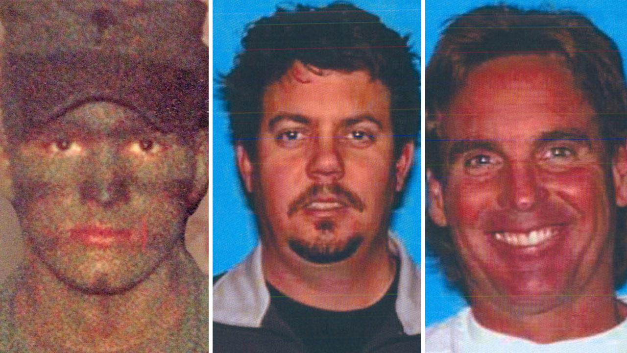 Michael William Donatelli, 45, of Indiana, Pa., Darren Arthur Rydstrom, 46, of Whittier, and David Gene Gibbs, 59, of Valencia, are seen in this split image.