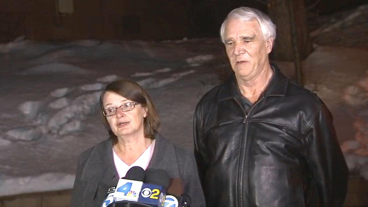 Karen and Jim Reynolds speak to reporters on Wednesday, Feb. 13, 2013, about their encounter with fugitive ex-Los Angeles police officer Chris Dorner while he was on the run.
