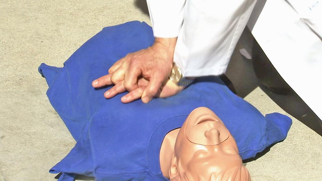 A doctor is seen demonstrating CPR in this file photo.