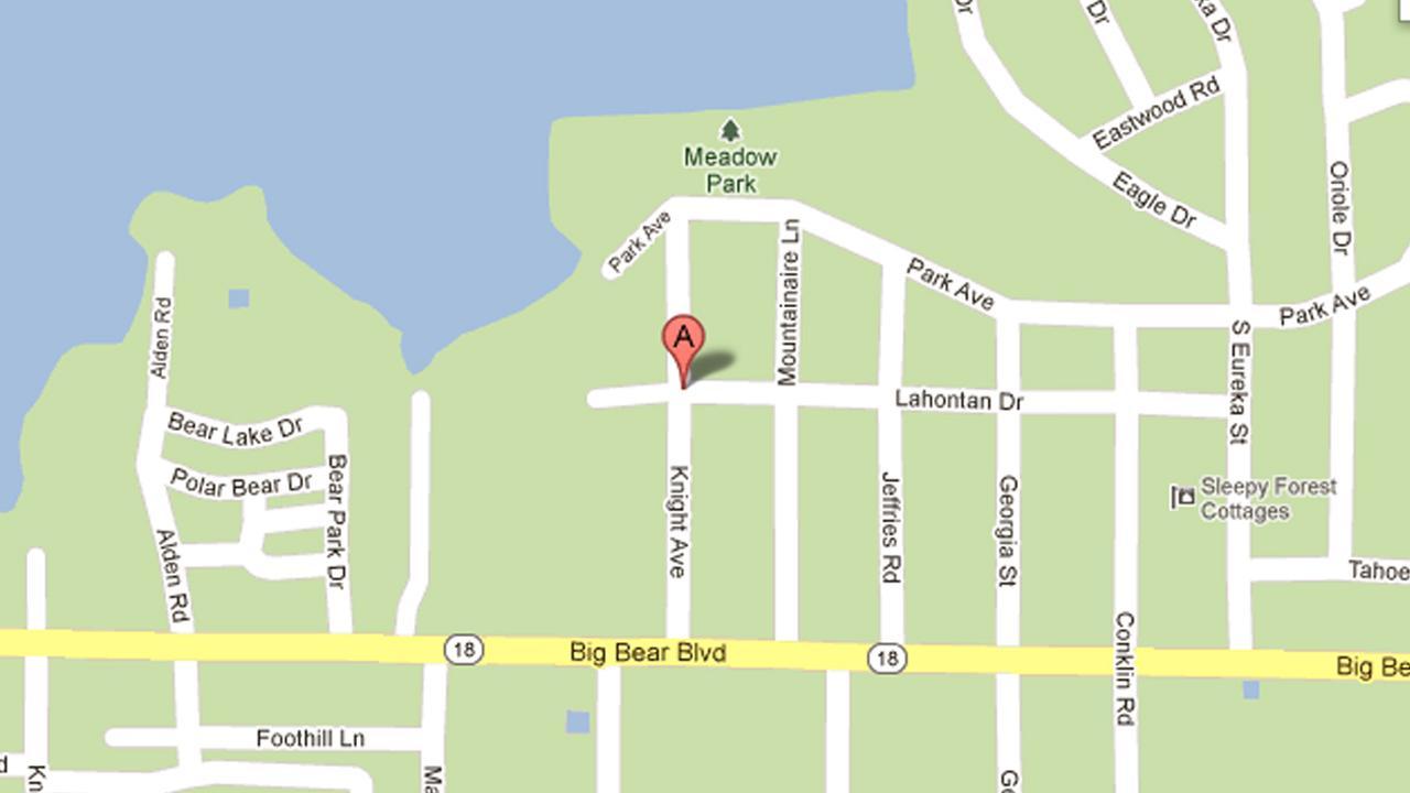A map indicates the 41200 Block of Lahontan Drive in Big Bear Lake.