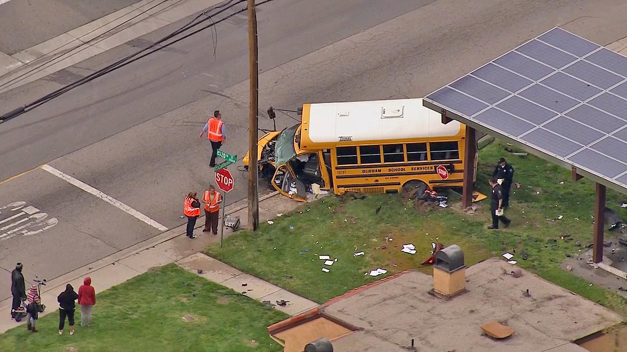 A school bus is seen after colliding with another vehicle in San Bernardino on Friday, March 8, 2013. Three people were injured, no children were on board.