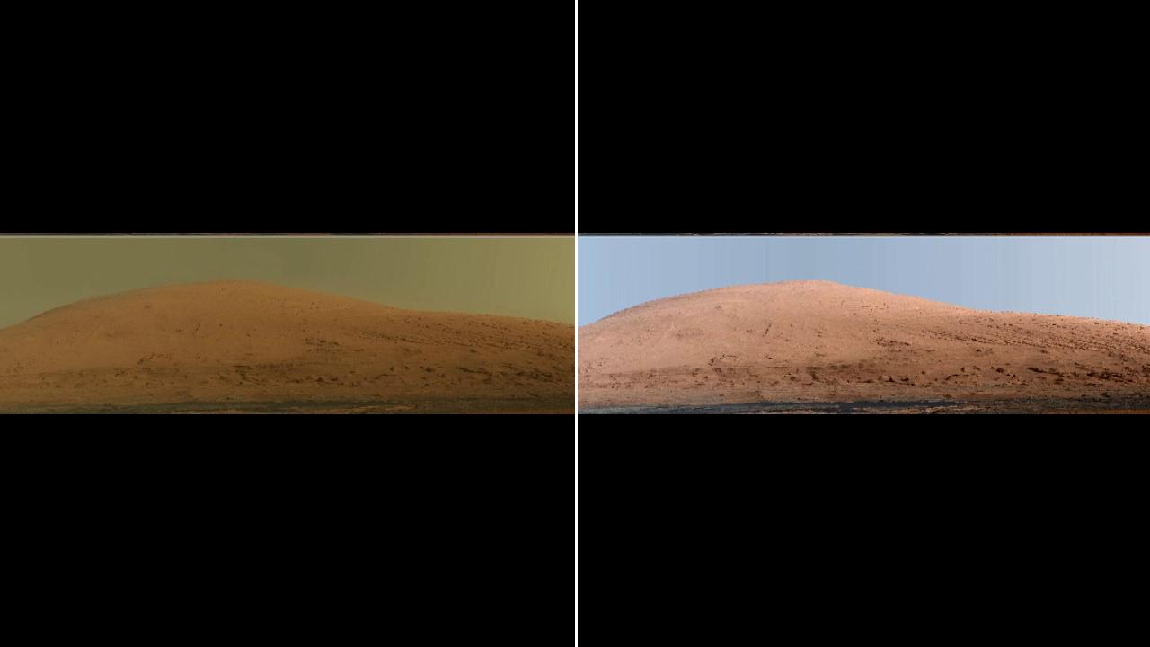 This split image shows two versions of Mars Mount Sharp. The left image shows Mount Sharp in natural Mars color, while the right shows an enhanced version in Earth lighting, with a false blue sky.
