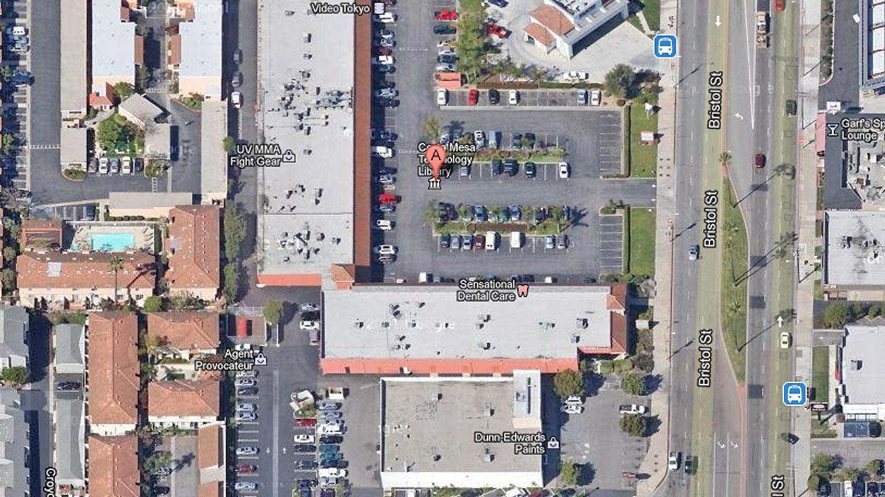 A map shows the 3000 block of Bristol Street in Costa Mesa where a man set himself on fire inside a salon on Sunday, March 24, 2013. The mans estranged wife reportedly works at the salon.