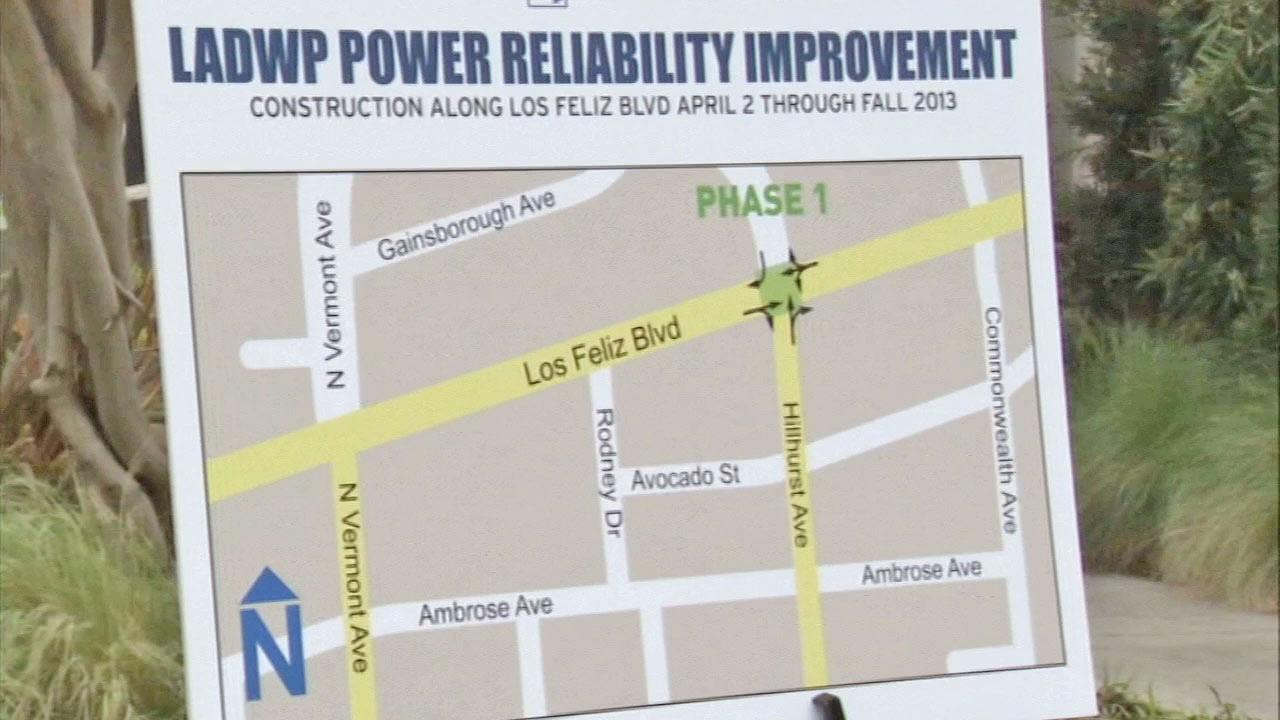 A map of LADWPs Los Feliz Power Reliability Improvement project through Los Feliz Boulevard is seen.