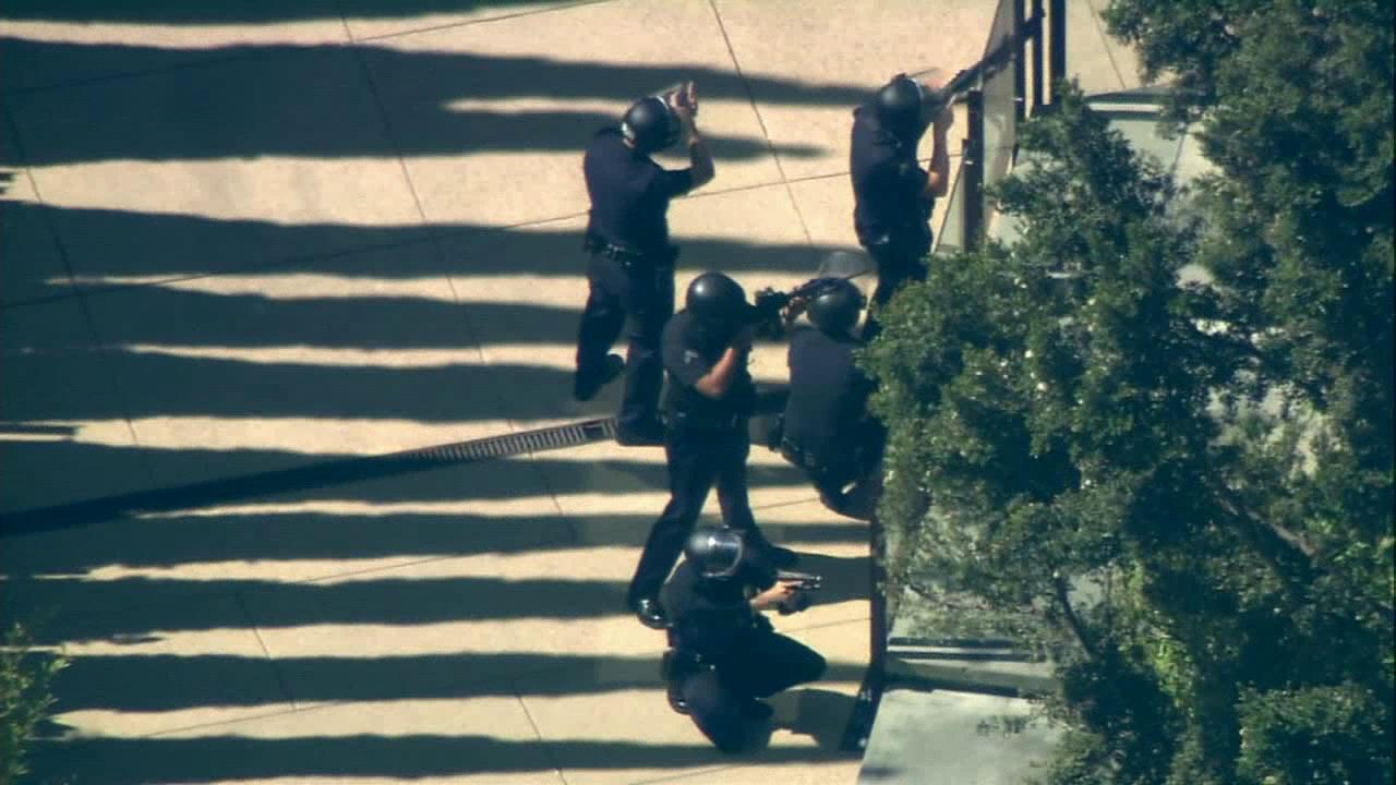 Authorities are seen in this undated image during a swatting incident at a celebritys home in Los Angeles.