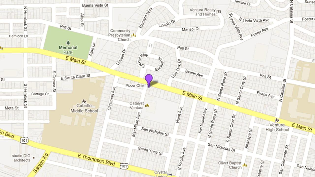 A map shows the location of Pizza Chief in Ventura, where a man allegedly broke in just to make himself a meal on Monday, May 13, 2013.