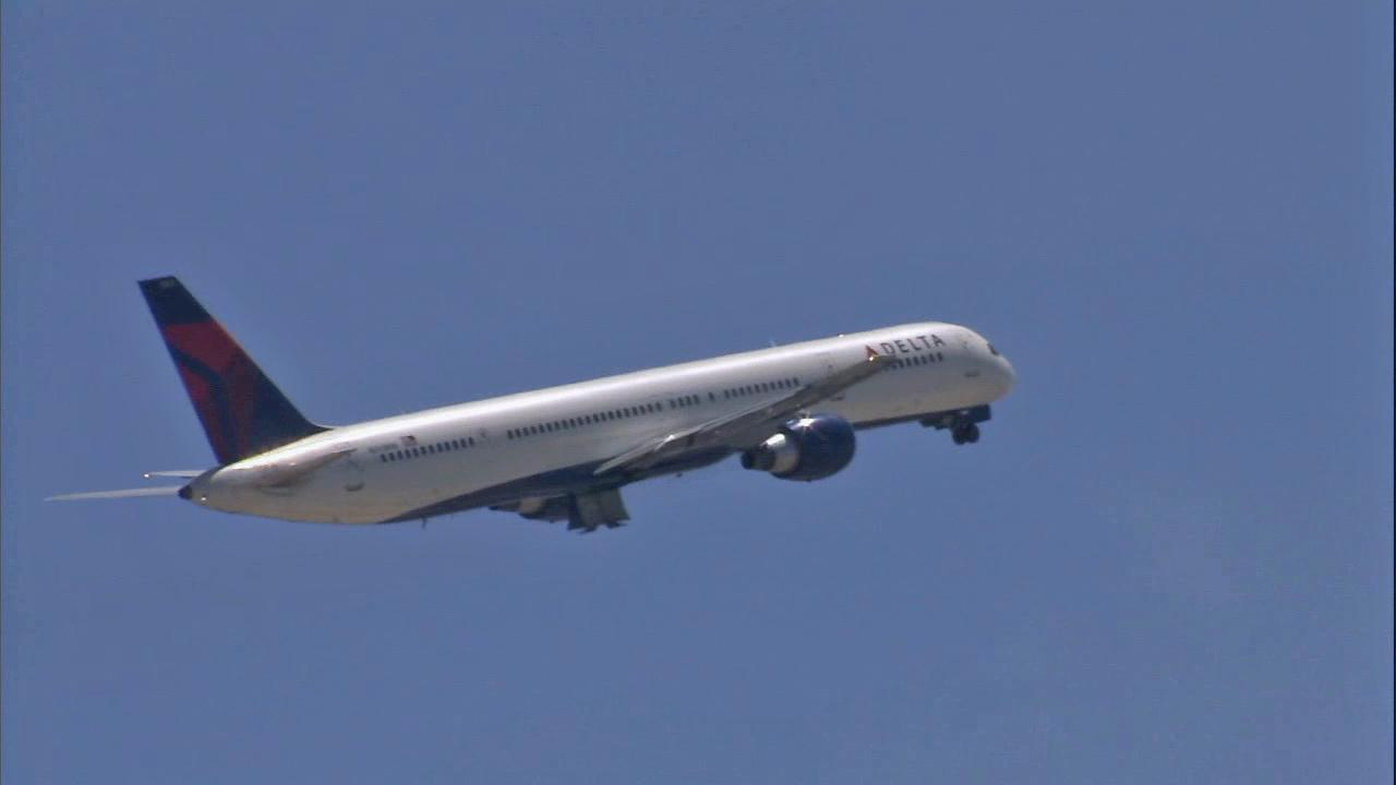 A Delta airplane is seen.
