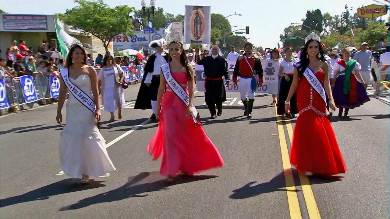 Miss Durango USA winners are seen in the 67th Mexican Independence Day Parade in East Los Angeles on Sunday, Sept. 8, 2013.