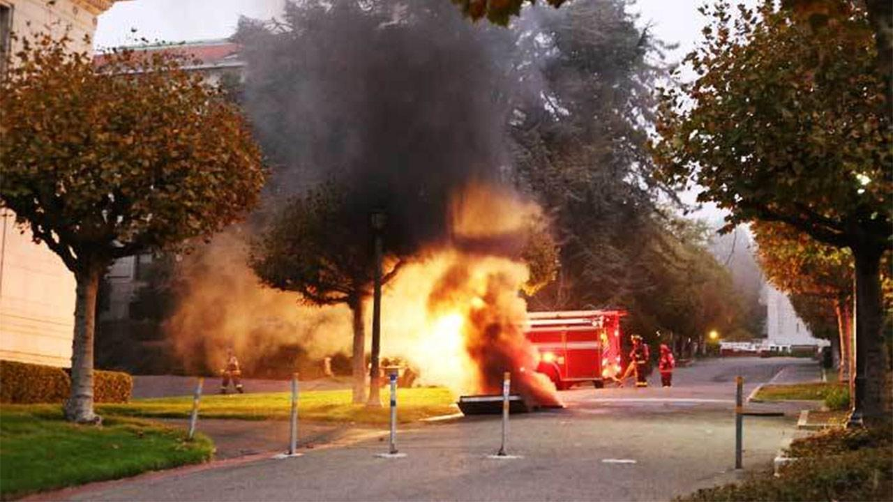 The University of California, Berkeley had to shut down Monday evening after an explosion and fire in an underground electrical vault on the campus.