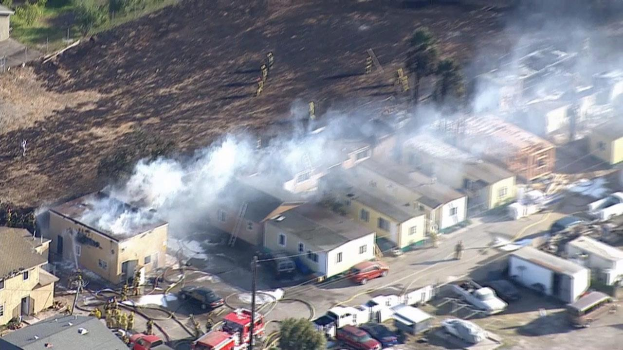 Several homes were destroyed in a fire at a mobile home park in Oxnard Friday, Oct. 4, 2013.