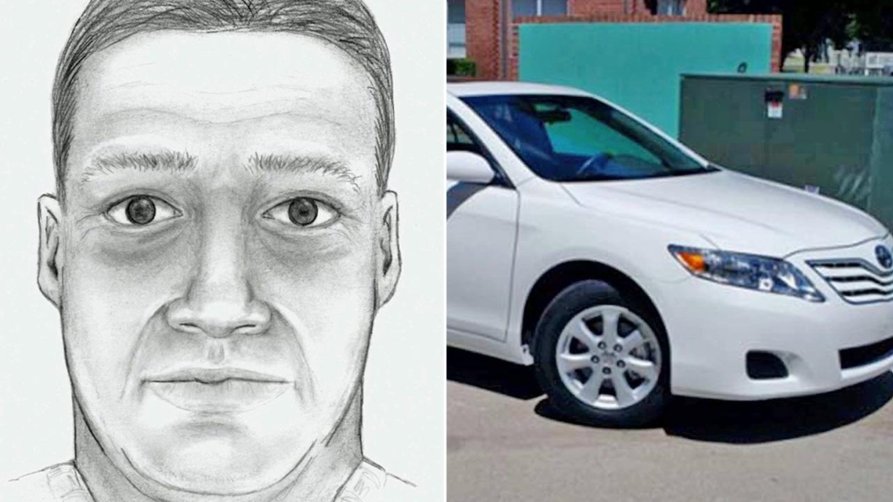 A sketch from authorities shows a man suspected of two recent attempted kidnappings in the Los Angeles area.