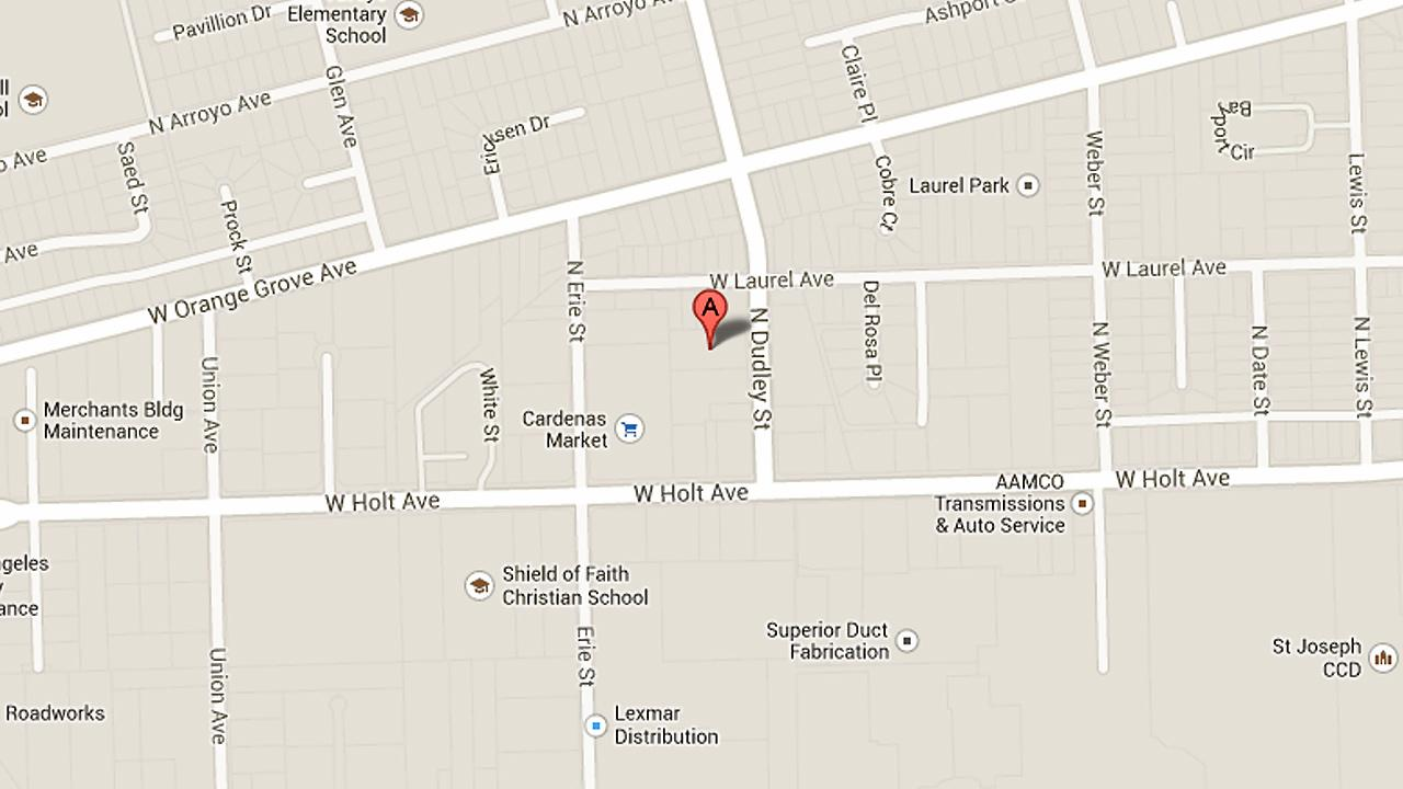 A map shows the 600 block of North Dudley Street in Pomona, where a man was shot to death Sunday, Dec. 8, 2013. Another man was hurt in an unrelated shooting on Sunday, Dec. 8, in the 1700 block of Appleton Way.