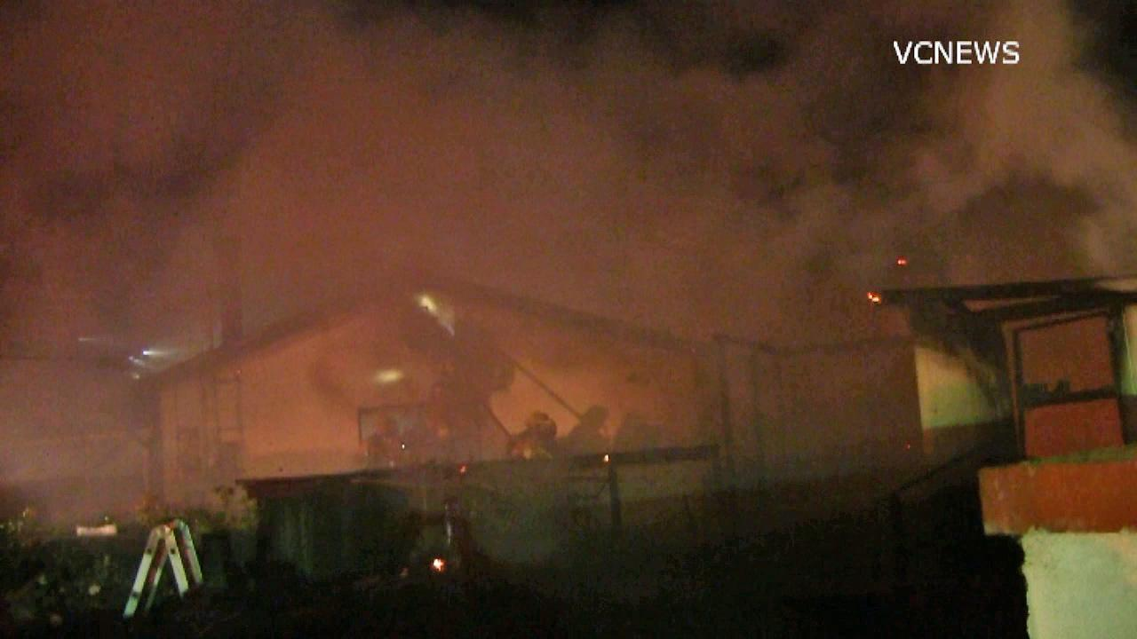 Crews battle a three-alarm fire in Camarillo on Sunday, Jan. 5, 2014.