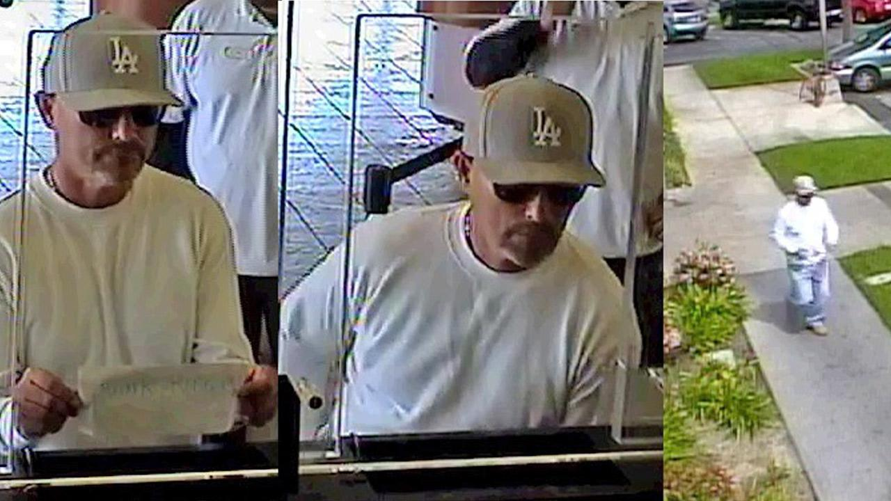 Photos taken from bank surveillance show a suspect who targeted four banks in one day in Buena Park on Saturday, March 22, 2014.